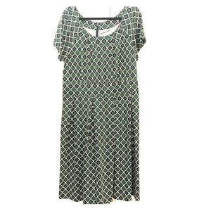 Plus size navy and green dress